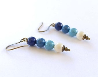 Swarovski Crystal Pearls in Navy, Teal, Blue and Ivory, Wire Wrapped Brass Bronze Dangle Earrings