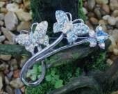 Pretty Butterfly silver tone crystal pin, Avon? shipped USA Free