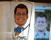 10 Hand Painted Caricature Groomsman  Beer Mugs Glass  Cartoon Portrait  Likeness Bride Bridesmaid Wine Beer Personalized