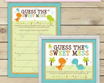Dinosaur Baby Shower Guess The Sweet Mess Game - Boy Baby Shower Games Printable - Instant Download - Diaper Candy Bar Game Activities
