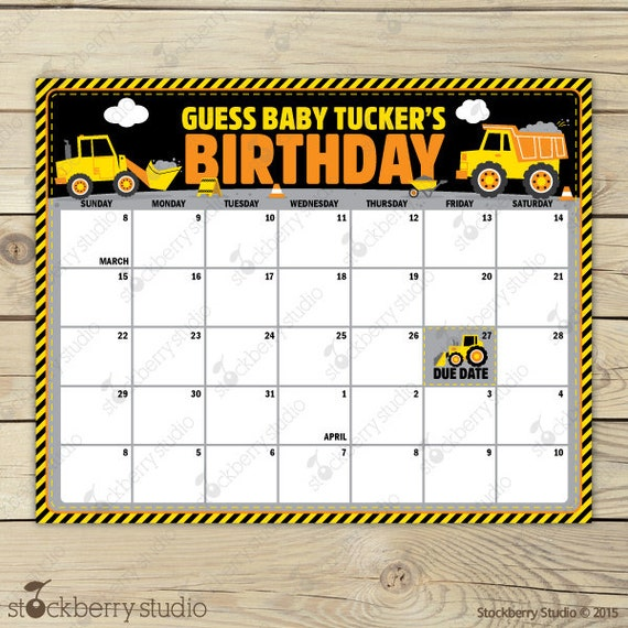 Construction Baby Shower Guess The Due Date Calendar   Birthday Prediction  Calendar   Boy Baby Shower Games   Construction Baby Shower