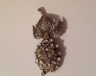 Vintage Coconut Palm Tree Crystal Pin