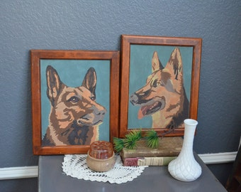 Pair Vintage Dog Painting Paint By Number German Shepard Picture Pair Teal Blue Brown Art Wood Framed Wall Hanging Mid Century Two 2