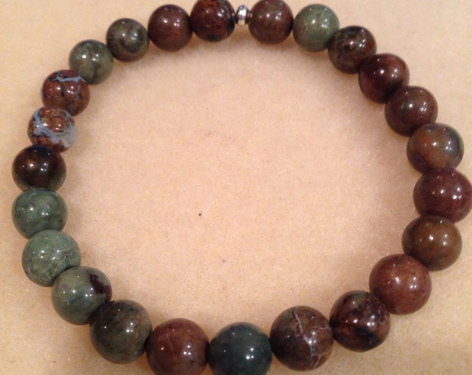 African Green Opal (Chalcedony) 8mm Round Bead Stretch Bracelet with Sterling Silver Accent