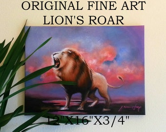"""ORIGINAL LION PAINTING Fine Art Acrylic on Stretched Canvas  12""""X16""""X3/4"""" Lion's Roar Realistic Detailed Ready to Hang Colorful Textured"""