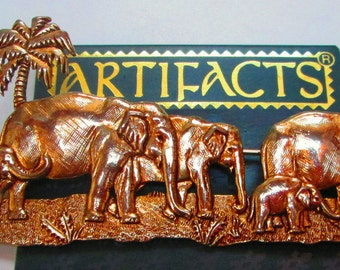 Vintage JJ pin Elephants-  Jonette Jewelry Pin Brooch Rare- unique gift Artifacts collectible 1986