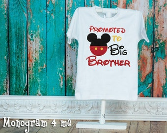 Mickey Mouse Promoted to Big Brother Boys Sibling Shirt, Big Bro