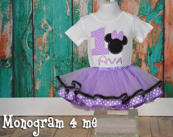 Minnie Mouse Birthday Tutu outfit, 1st Birthday Minnie outfit, Purple Minnie