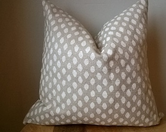 Designer Fabric ikat dot spotted pillow cover beige white neutral rustic luxe toss cushion throw euro sham lumbar solid rustic chic