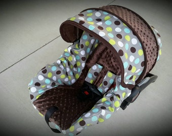 Dots cover with brown minky- Infant car seat cover- Custom order Always comes with FREE Strap Covers
