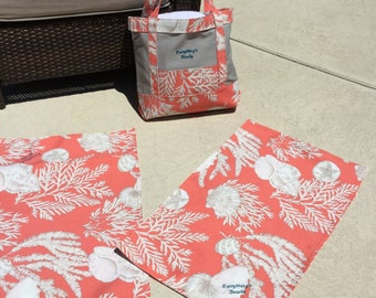 Everything's Beachy Coral Print Tote and Oversized Beachy Snack Mats