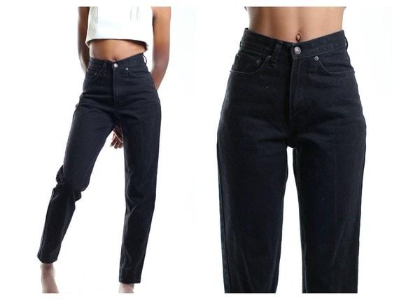 black vintage 80s high waist mom jeans all sizes. Black Bedroom Furniture Sets. Home Design Ideas