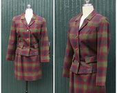 Vintage 60's PENDLETON Suit | 2 piece Shadow Plaid Wool Jacket and Mini Skirt | Mod, Preppy, Size Small