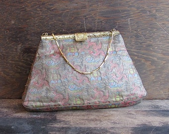 ASIAN PERSUASION Vintage 30s Purse | 1930's Guan Yu Dragon Theme Metallic Brocade Handbag w/ Brass Handle | Saks Fifth Ave Art Deco Flapper