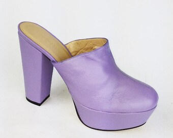 Versace Pastel Lavender Platform High Heel Mules // 7