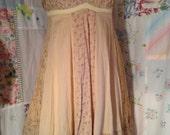 SMALL/MED, Bohemian Hippie Romantic Cotton Dress/ Long Top