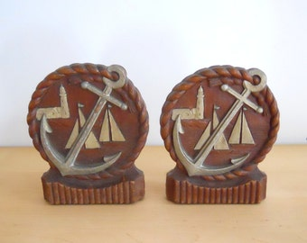 Nautical Themed Syroco Wood USA Bookends with Anchor Lighthouse & Sailboats