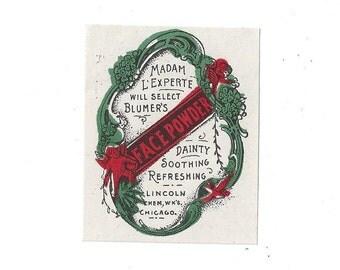 Vintage Blumer's Face Powder Label, C1910s