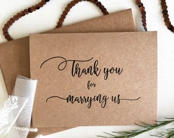Wedding Gift Thank You Greetings : Wedding Officiant Gift - Officiant Card - Thank You For Marrying Us ...