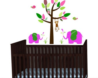 Pink Elephants, Mini Jungle Animal Decals, Jungle Decal Sticker, Nursery Decal, Monkey wall decal, Girl Green Chevron, Brown Tree