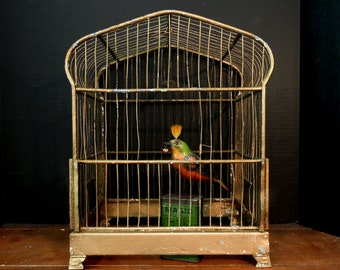Vintage Gold Metal Bird Cage Wicker / Metal Hanger / Birdcage No Bottom