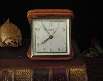 Vintage Florin Working Alarm Clock / 8 Jewel / Weathered Camel Color Leather Box Case / Illuminated Hands / Germany
