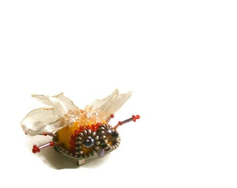 Felt brooch  Beetle- Embroidered Brooch - Hand felted brooch - Wool brooch- Handmade