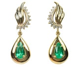 Tantalizing Sparkle! 3.40tcw Colombian Emerald & Diamond Dangle Earrings 14k