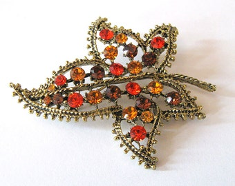 Autumn Leaf Rhinestone Brooch, Swarovski Hyacinth and Topaz, Antique Gold Tone Vintage