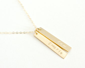 Personalized Vertical Bar Necklace, Gold Bar Necklace, Name Necklace, Layered Necklace, Family Necklace, Mother Daughter Jewelry, Silver Bar