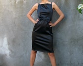little black dress with big bow vintage style ... Andrea...black cotton sateen with elastane