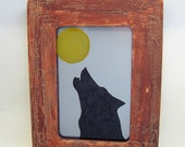 Howling Wolf and Moon Antiqued Mirror in Distressed Rustic Frame Country Cottage Prairie Mountain Log Cabin Ranch Western Home Decor