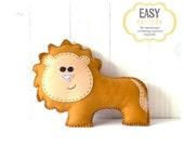 40% OFF: Lion Stuffed Animal Sewing Pattern, Plush Lion Pattern, Felt Lion Sewing Pattern, Lion Softie, Lion Stuffie