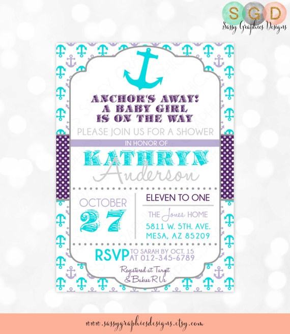 Anchors Away Girl Baby Shower Invitation Baby Girl Nautical Invite