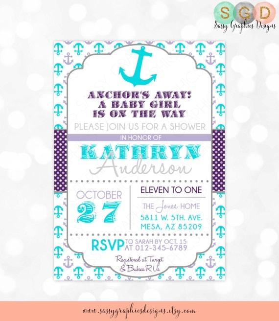 Anchors away girl baby shower invitation baby girl nautical invite il570xn filmwisefo Choice Image