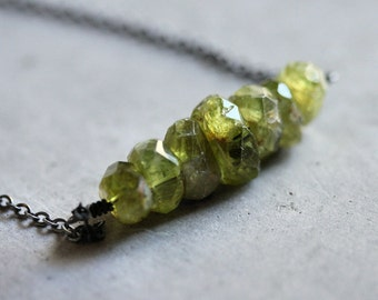 Peridot Necklace, Lime Spring Green Rough Natural Gemstone Oxidized Sterling Silver Necklace August Birthstone Necklace - Millpond