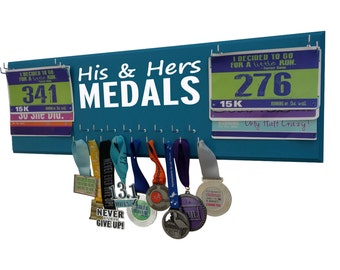 Wedding gift for runners -  medals holder -   race bibs and medals hanger - running running and running: inspirational quote