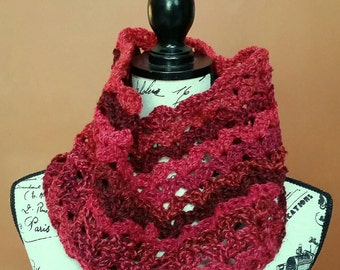 Mixed Berries Simple Shell Crocheted Cowl - Ready to Ship