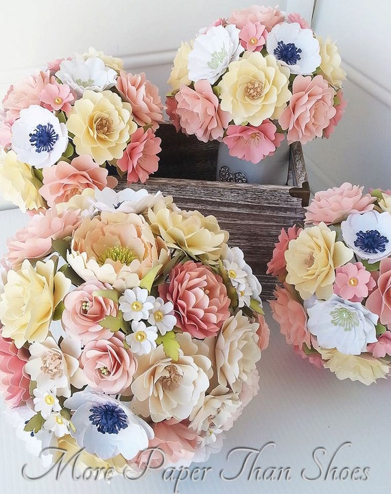 Paper Bouquet - Paper Flowers - Wedding Bouquet - Bride or Bridemaid Bouquet - Shabby Chic - Rustic Wedding - Made To Order
