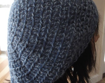 Blue Slouchy Hat Crocheted Slouchy Hat Blue Tam Frency Beret Slouchy Wool Hat Cold Weather Hat Hockey Mom