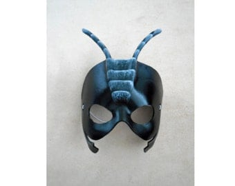Black Ant Leather Mask - Ant Mask - Ant Costume - Halloween Costume - Child Costume - Animal Mask - Insect Costume