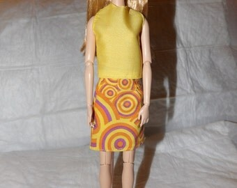 Colorful swirl print skirt & yellow top for Fashion Dolls - ed903
