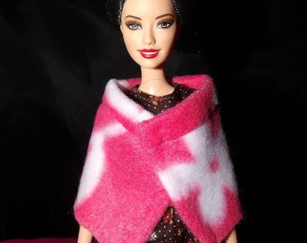 Fashion Doll Coordinates - Hot pink & white Daisy Fleece wrap cape - es356