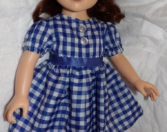 Cute blue & white checked Dorothy OZ dress with button trim for 18 inch dolls - ag277