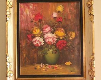Vintage 50's/60's Floral Still Life Painting by C. Radoff and Original Ornate Gold and Black Velvet Frame