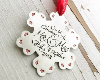 hand stamped christmas ornament our first christmas as mr and mrs our 1st xmas as mister and missus snowflake silver heart tree angel bells