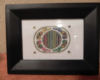 Framed Miniature Celtic Medallion Cross Cross-Stitched Picture