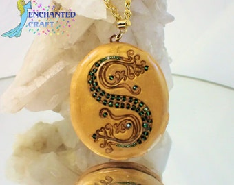 new design! Salazar Slytherin's Locket Horocrux OPENS from the book cover Deathly Hallows- w/ chain