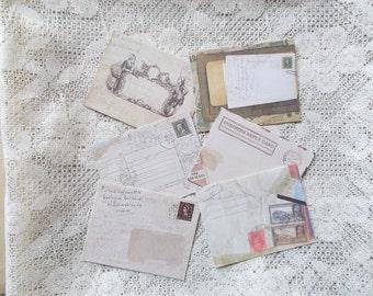 Vintage Envelopes, Scrapbooking, Embellishment, Secret Notes, Set of 6