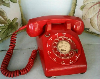 Vintage Red Rotary Dial Telephone